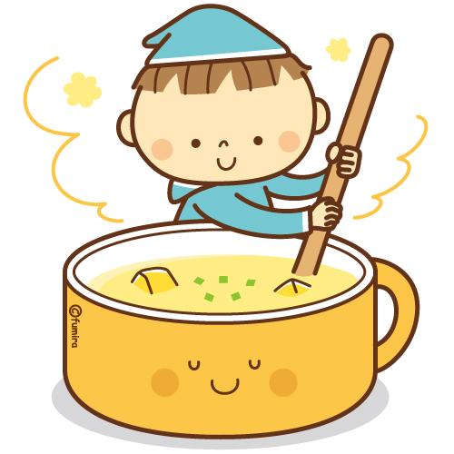 秋のイメージあたたかいコーンスープをかきまぜる小人のイラスト