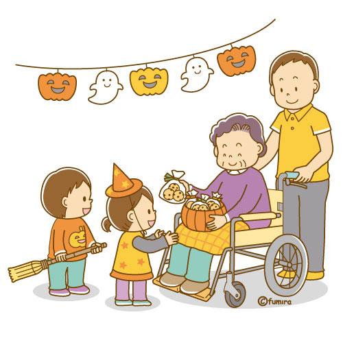 イラスト仮装したこどもたちにハロウィンのお菓子を上げる老人ソフト