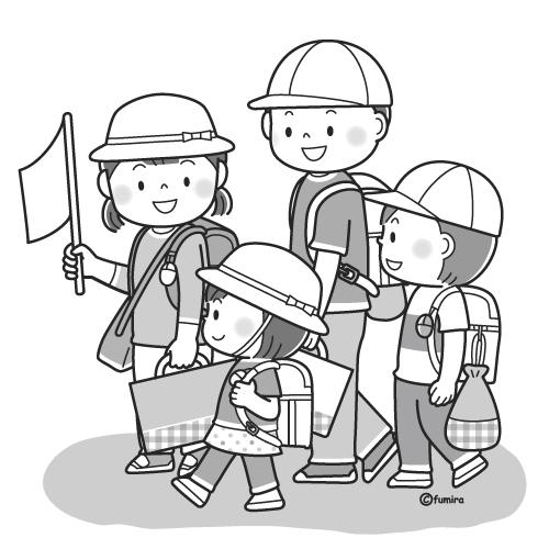 集団登校をする小学生のイラストモノクロ 子供と動物のイラスト屋