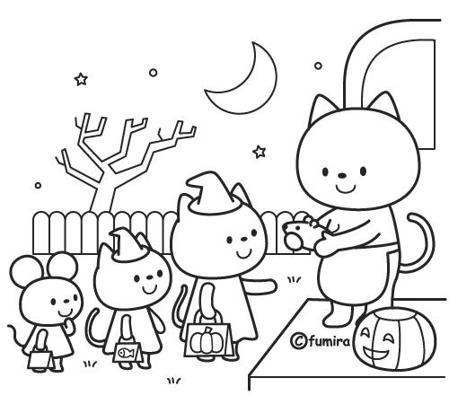 ハロウィンハロウィンのお菓子をもらうネコのイラストモノクロ