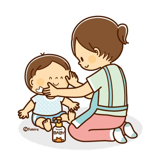 赤ちゃんに日焼け止めクリームをつけるママのイラストソフト 子供