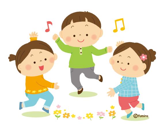 ダンスを踊る小さな子供たちのイラスト ソフト 子供と動物のイラスト屋さん わたなべふみ