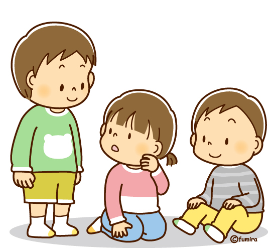 立っている子どもと座っている子どもソフト 子供と動物のイラスト