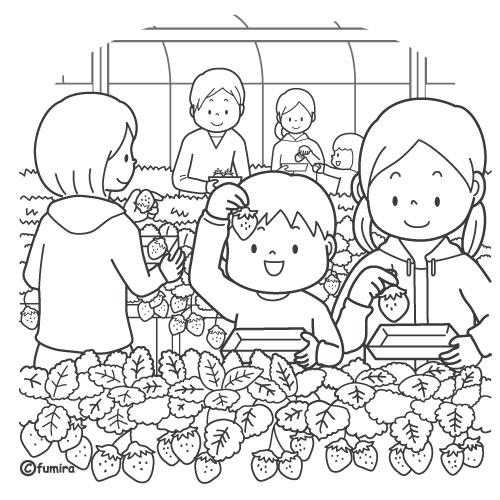 いちご狩りをする家族のイラストぬりえ 子供と動物のイラスト屋