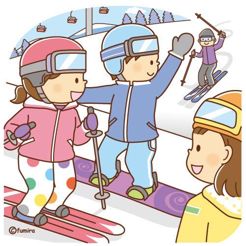 スキーをする家族のイラストソフト 子供と動物のイラスト屋さん
