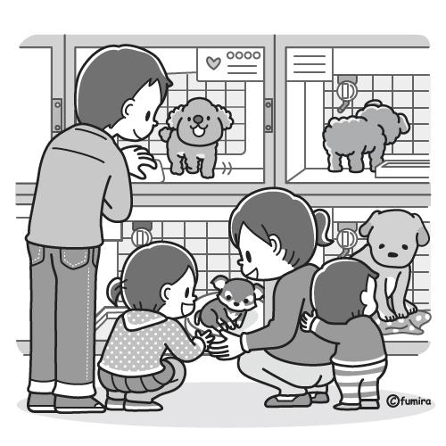 ペットショップに行く家族のイラストモノクロ 子供と動物の