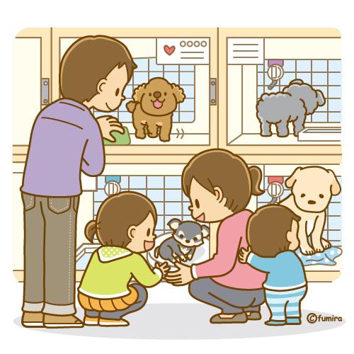 ペットショップに行く家族のイラストソフト 子供と動物のイラスト