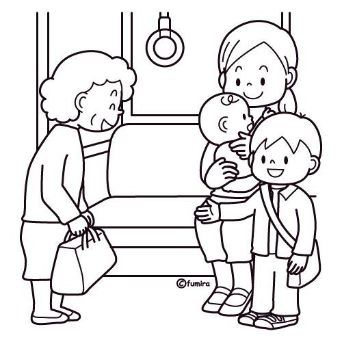 電車でおばあさんに席をゆずる子供のイラストぬりえ 子供と動物の