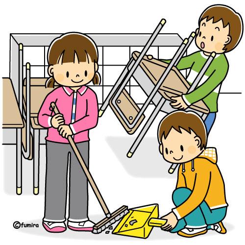 教室の掃除をする男の子とクラスメイトのイラストカラー 子供と