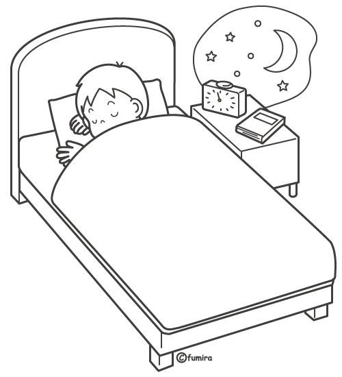 夜ベッドで寝ている男の子のイラストぬりえ 子供と動物の