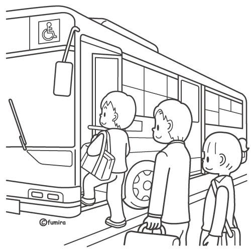 バスに乗る男の子のイラストぬりえ 子供と動物のイラスト屋さん