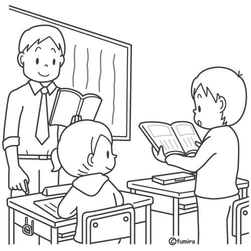 教科書を読む音読をする男の子のイラストぬりえ 子供と動物の