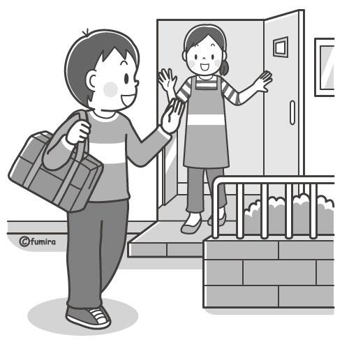 家を出る男の子いってきます言う男の子モノクロ 子供と動物の
