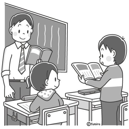 教科書を読む音読をする男の子のイラストモノクロ 子供と動物の