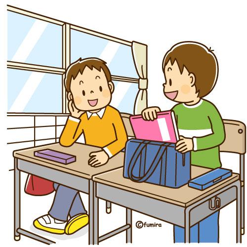 教室で席につく男の子のイラスト...