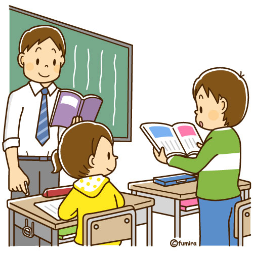 教科書を読む音読をする男の子のイラストソフト 子供と動物の