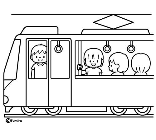 電車に乗る女の子のイラストカラー 子供と動物のイラスト屋さん