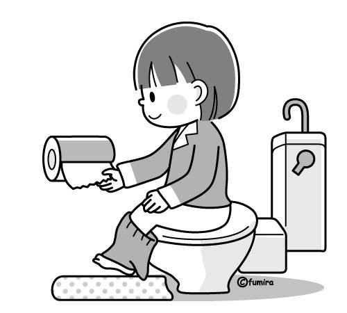 トイレに行く女の子のイラストモノクロ 子供と動物のイラスト屋
