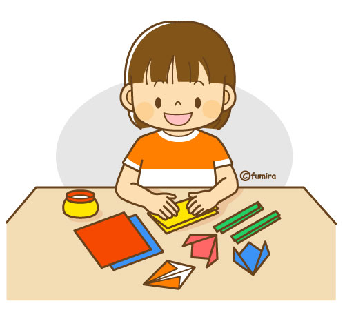 折り紙を折って遊ぶ女の子のイラストソフト 子供と動物のイラスト