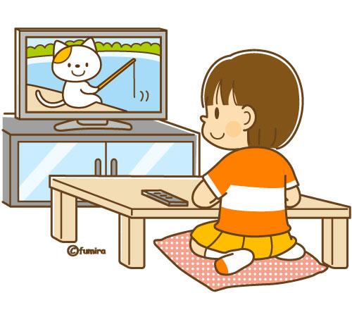 テレビを見る女の子のイラスト(...