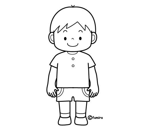 男の子のイラスト(ぬりえ)