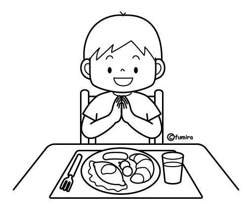 朝ごはんを食べる男の子のイラストぬりえ 子供と動物のイラスト屋