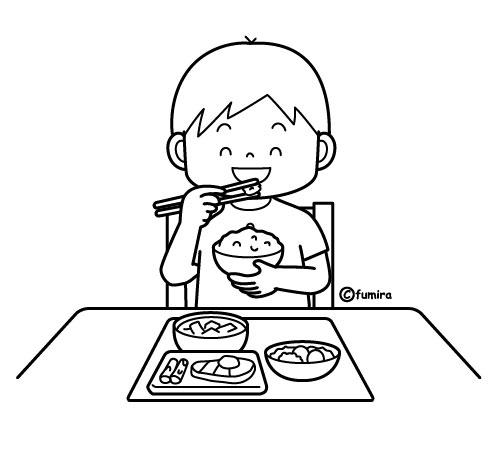和食のごはんを食べる男の子のイラストぬりえ 子供と動物の