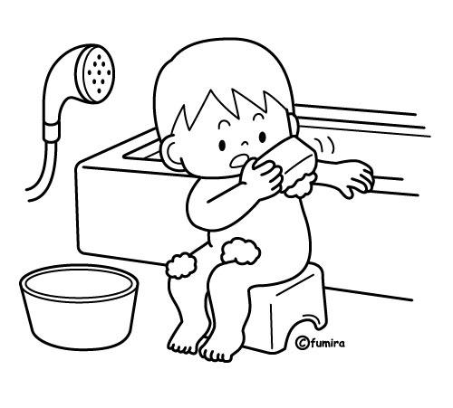 お風呂で体を洗う男の子のイラストぬりえ 子供と動物のイラスト屋