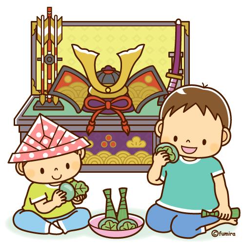 5月人形兜飾りと柏餅を食べる兄弟のイラストソフト 子供と動物