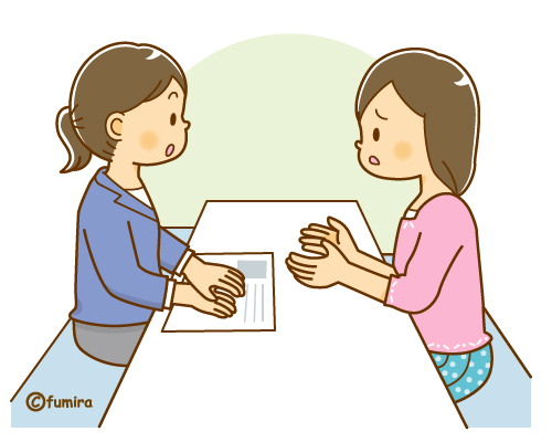 カウンセラーと相談をする女性のイラスト(ソフト)