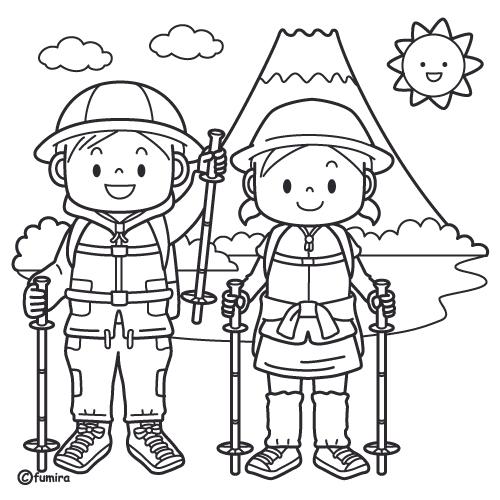 山開き富士山に登る子どもたちのイラストぬりえ 子供と動物の