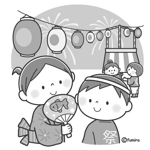 夏祭りのこどもたちのイラストモノクロ 子供と動物のイラスト屋