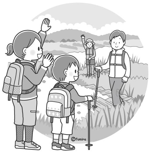 山の日のイメージハイキングをする家族のイラストモノクロ 子供