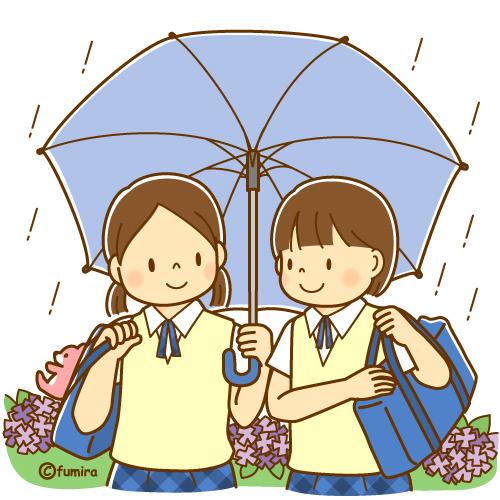 傘をさす女子中学生のイラストソフト 子供と動物のイラスト屋さん