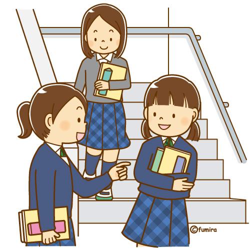 教室を移動する女子中学生のイラストソフト 子供と動物のイラスト屋
