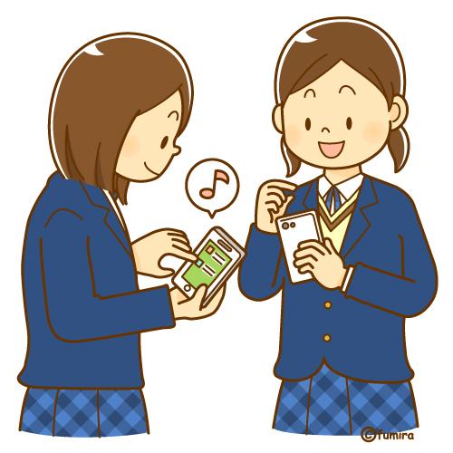 スマートフォンスマホを使う女子中学生のイラストソフト 子供