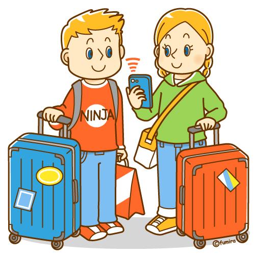 スーツケースを持った欧米の観光客イラスト ソフト 子供と動物のイラスト屋さん わたなべふみ