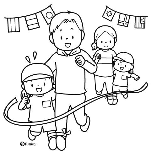 二人三脚をする親子のイラストぬりえ 子供と動物のイラスト屋さん