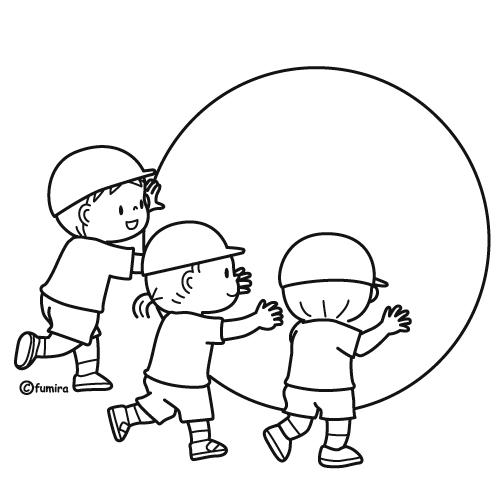 大玉転がしをする子どもたちのイラストぬりえ 子供と動物の