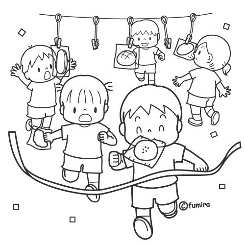 パン食い競走をする子どもたちのイラストぬりえ 子供と動物の