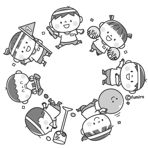 運動会の輪のイラスト(モノクロ)