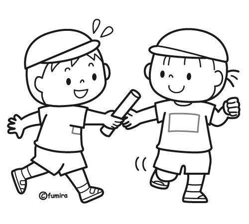 リレーでバトンパスをする男の子と女の子のイラストぬりえ 子供と