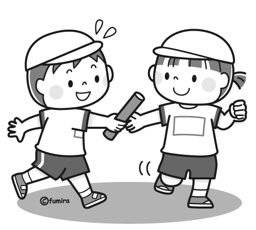 リレーでバトンパスをする男の子と女の子のイラストモノクロ 子供