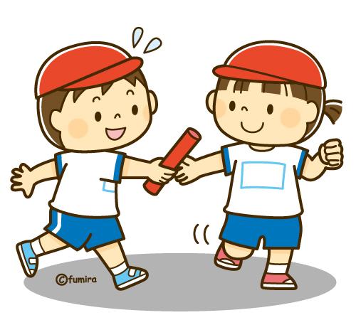 リレーでバトンパスをする男の子と女の子のイラストソフト 子供と
