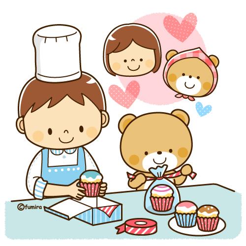 お菓子作りカップケーキを作る男の子とクマのイラストソフト