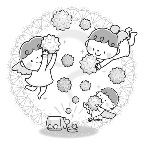 金平糖と天使のイラストモノクロ 子供と動物のイラスト屋さん