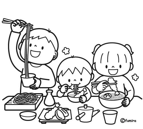 年越しそばを食べる子どもたちのイラストぬりえ 子供と動物の